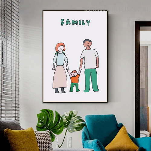 Family Abstract Kids Framed Artwork Photo Canvas Print for Room Wall Decoration