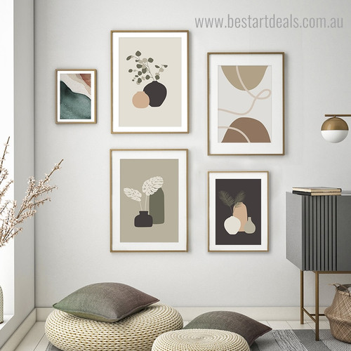 Bines Abstract Botanical Modern Framed Artwork Photo Canvas Print for Room Wall Finery