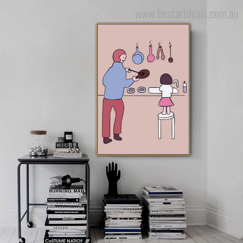 Daddy Lass Abstract Framed Smudge Picture Canvas Print for Room Wall Garnish