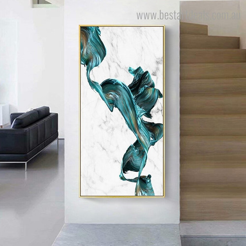 Turquoise Color Abstract Watercolor Framed Painting Photograph Canvas Print for Room Wall Assortment