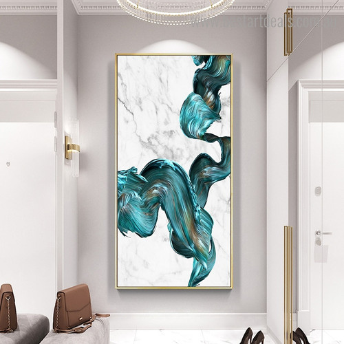 Turquoise Spatula Abstract Watercolor Framed Artwork Photo Canvas Print for Room Wall Decoration