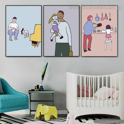 Dad Daughter Abstract Kids Framed Painting Photograph Canvas Print for Room Wall Tracery