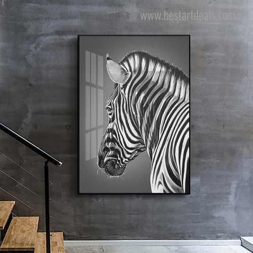 Black Zebra Animal Modern Framed Painting Picture Canvas Print for Room Wall Assortment
