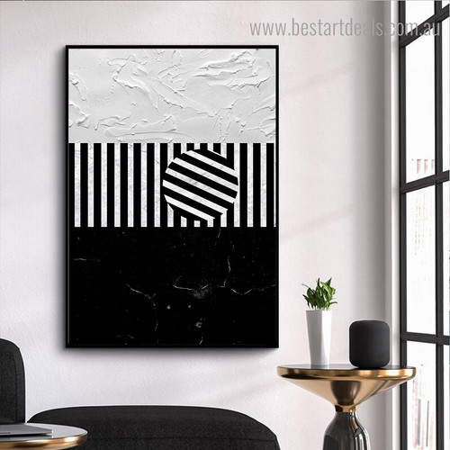 White Lines Abstract Modern Framed Painting Pic Canvas Print for Room Wall Disposition