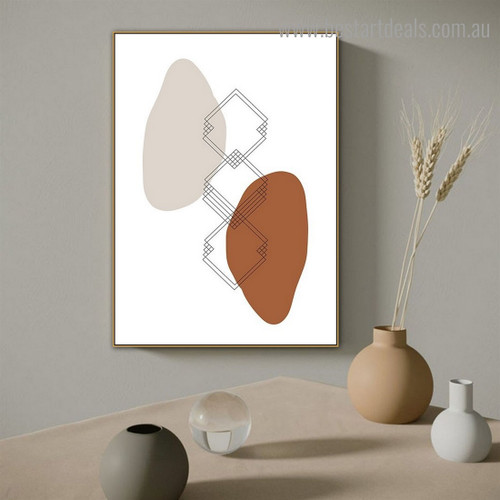 Spherical and Square Abstract Modern Framed Painting Picture Canvas Print for Room Wall Tracery