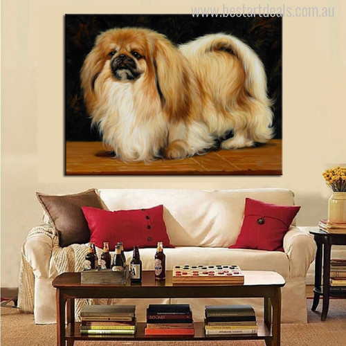 Cute Pekingese Dog Painting Print for Living Room Decor