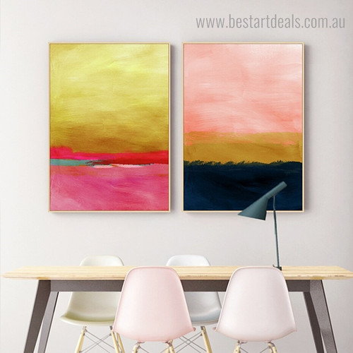 Pink and Golden Abstract Modern Framed Artwork Photo Canvas Print for Room Wall Assortment