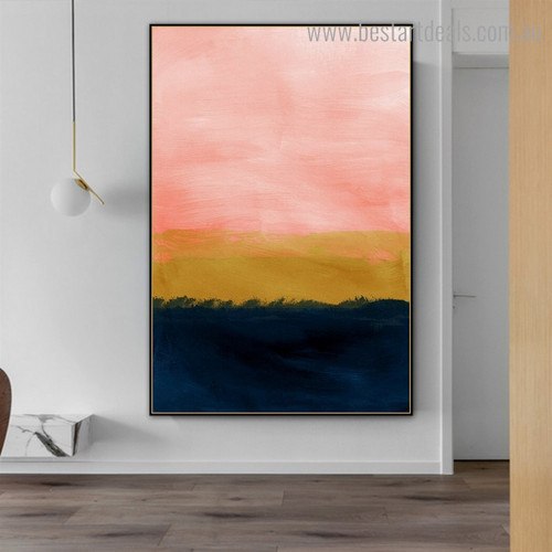 Blue and Pink Abstract Modern Framed Artwork Photo Canvas Print for Room Wall Disposition