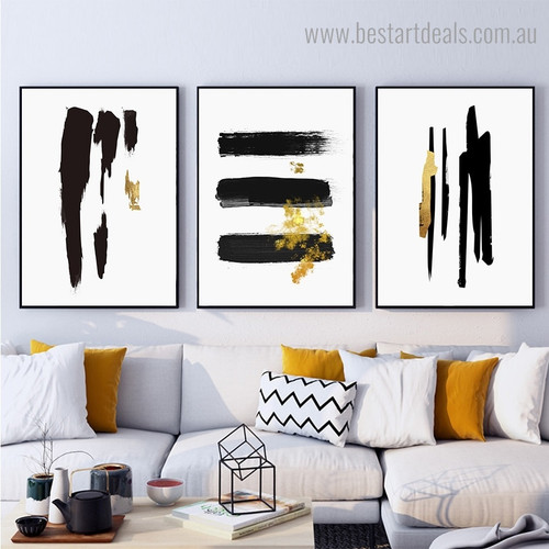 Black Gold Brush Minimalist Abstract Framed Artwork Image Canvas Print for Room Wall Tracery
