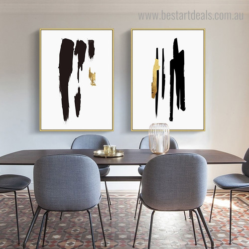 Golden Black Streaks Minimalist Abstract Framed Painting Image Canvas Print for Room Wall Tracery