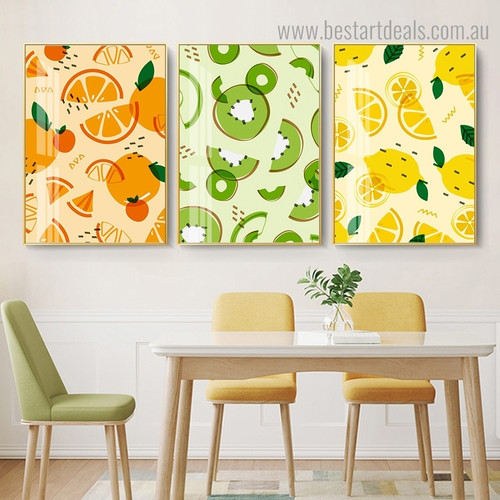 Orange Lemon Kiwi Food and Beverage Framed Artwork Image Canvas Print for Room Wall Disposition