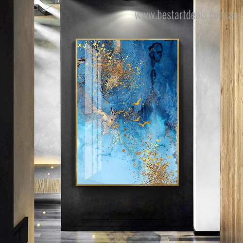 Blue Golden Abstract Framed Artwork Picture Canvas Print for Room Wall Decoration