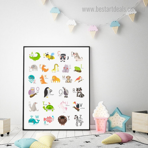 Animal Alphabets Kids Framed Painting Photo Canvas Print for Room Wall Assortment