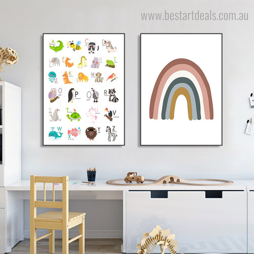 Alphabets Rainbow Abstract Kids Framed Painting Photograph Canvas Print for Room Wall Assortment