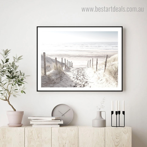 Sandy Beach Landscape Nature Framed Effigy Photograph Canvas Print for Room Wall Outfit