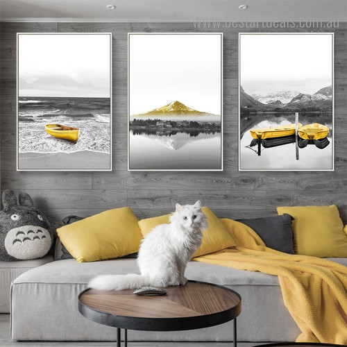 Boats and Hill Landscape Framed Painting Picture Canvas Print for Room Wall Getup