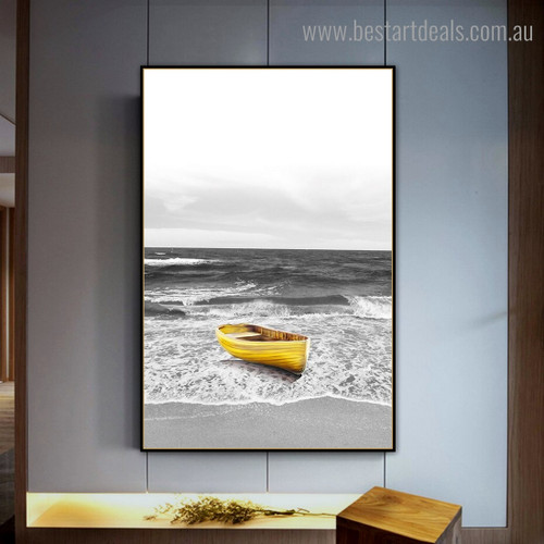 Yellow Boat Landscape Framed Painting Image Canvas Print for Room Wall Assortment
