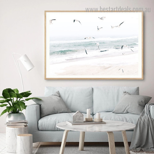 Coastal Seagulls Landscape Framed Artwork Image Canvas Print for Room Wall Ornament