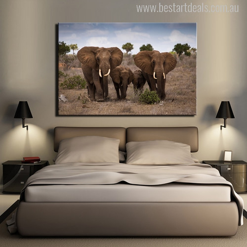 The African Grassland Landscape With Elephant Family Painting Canvas Print
