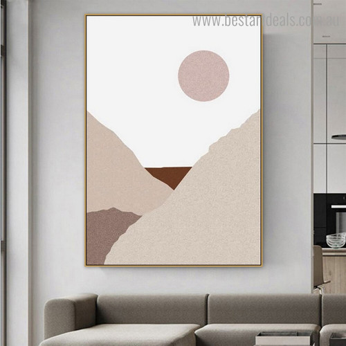Dry Hills Abstract Framed Artwork Picture Canvas Print for Room Wall Garnish