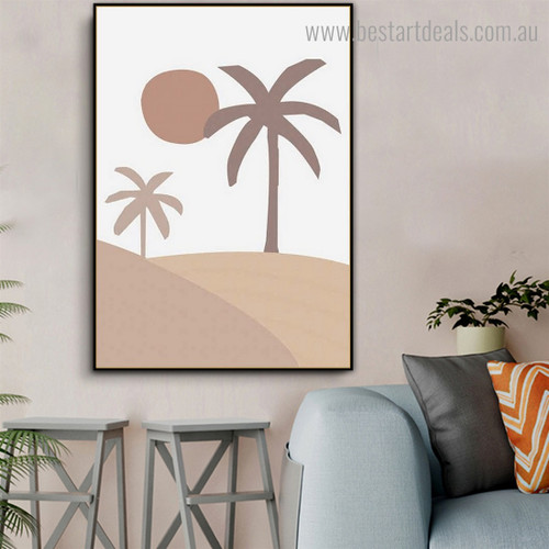 Babassu Palm Trees Abstract Framed Artwork Portrait Canvas Print for Room Wall Tracery