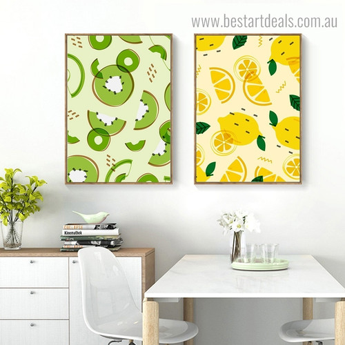 Lemon Kiwi Food Framed Painting Photograph Canvas Print for Room Wall Ornament