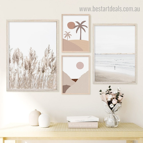 Beach and Desert Abstract Framed Artwork Photograph Canvas Print for Room Wall Assortment