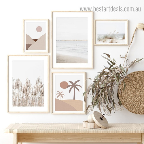Phragmites and Palms Botanical Modern Framed Painting Photograph Canvas Print for Room Wall Decor