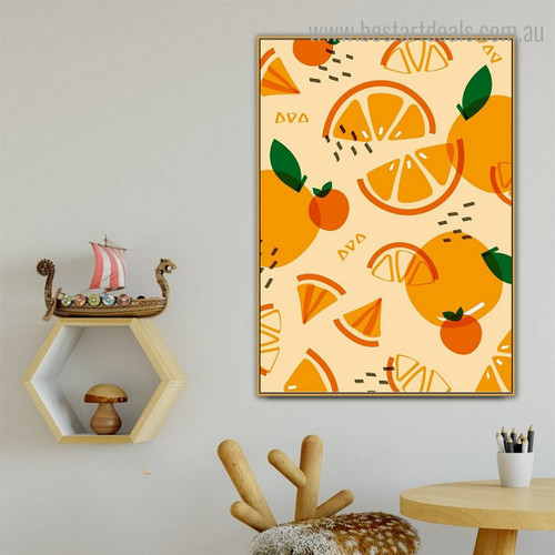 Orange Food Framed Effigy Photograph Canvas Print for Room Wall Tracery