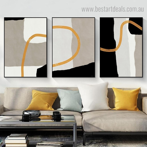 Three Curved Streaks Abstract Contemporary Framed Painting Photo Canvas Print for Room Wall Decor