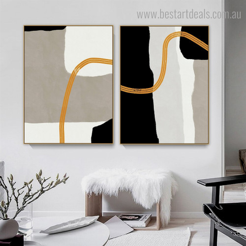 Three Roundabout Lines Abstract Contemporary Framed Painting Image Canvas Print for Room Wall Ornament