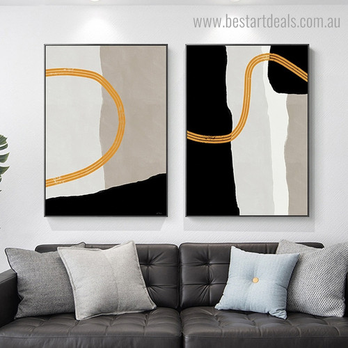 Three Circuitous Strokes Abstract Contemporary Framed Painting Image Canvas Print for Room Wall Ornament