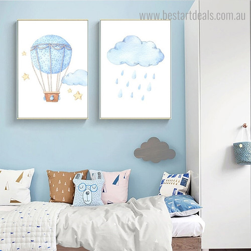 Rainy Cloud Kids Modern Framed Painting Image Canvas Print for Room Wall Finery