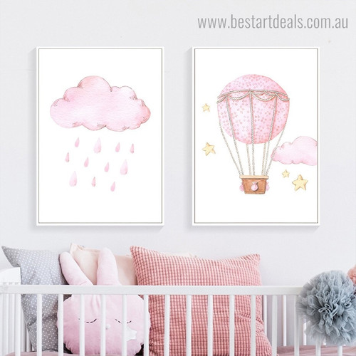 Cloud Balloon Kids Modern Framed Painting Image Canvas Print for Room Wall Finery