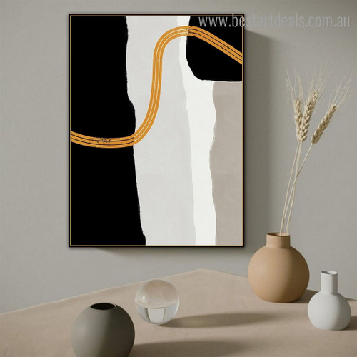 Curved Traits Modern Framed Painting Portrait Canvas Print for Room Wall Disposition