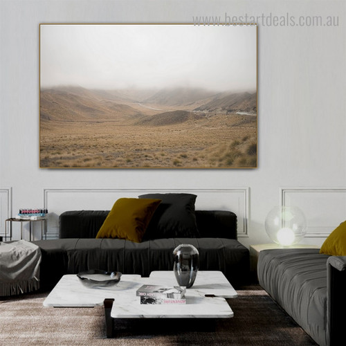 Hills Fog Landscape Nature Framed Painting Photograph Canvas Print for Room Wall Adornment