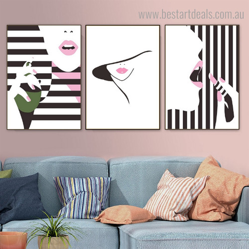 Girls Lipstick Fashion Figure Contemporary Framed Painting Image Canvas Print for Room Wall Assortment