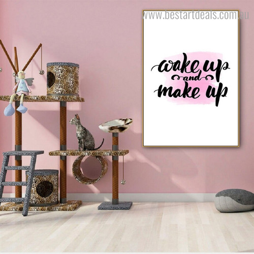 Make Up Quote Contemporary Framed Artwork Photo Canvas Print for Room Wall Decoration