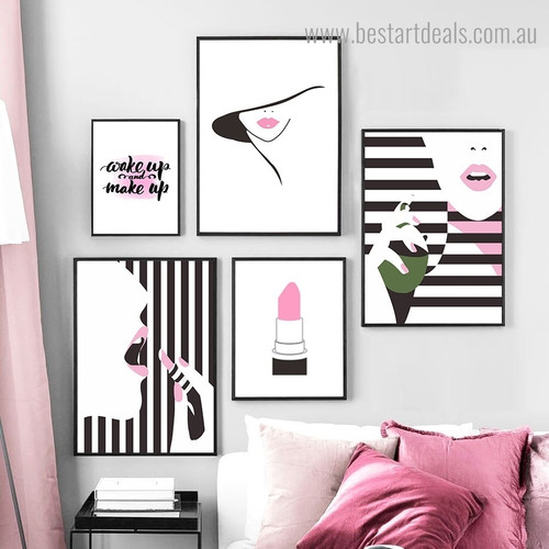 Pink Lipstick Figure Contemporary Framed Artwork Image Canvas Print for Room Wall Decoration