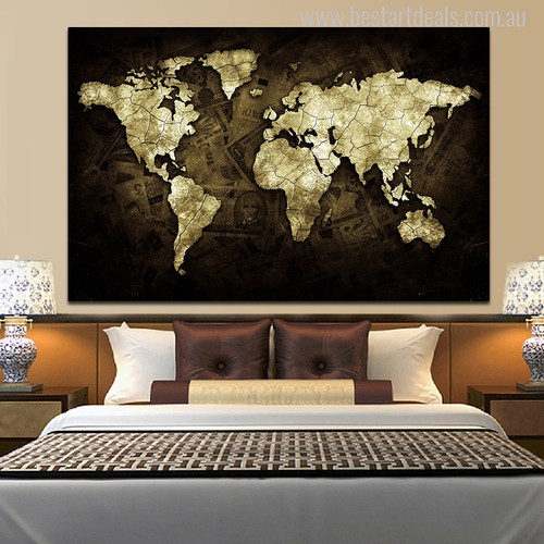 Golden World Map Painting Canvas Print for Bedroom Decor