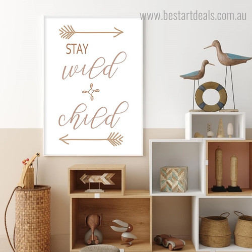 Stay Quote Scandinavian Framed Artwork Portrait Canvas Print for Room Wall Assortment