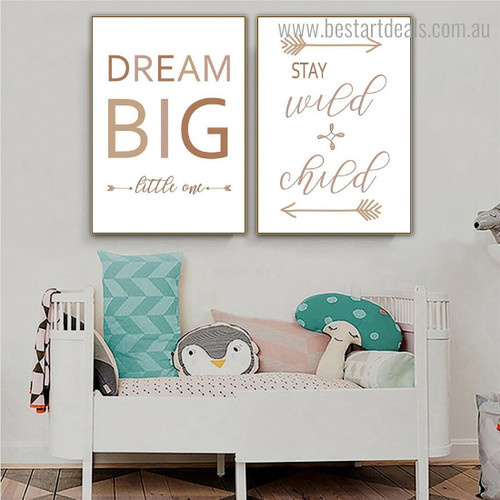 Stay Wild Quote Scandinavian Framed Painting Portrait Canvas Print for Room Wall Ornament
