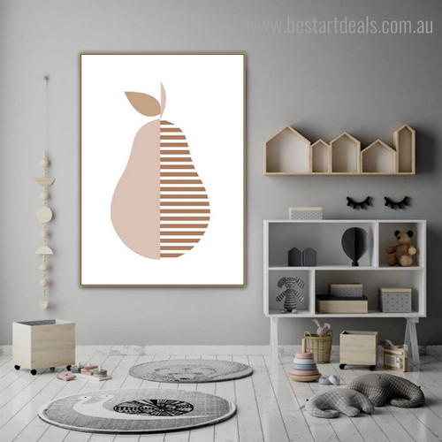 Pyrus Communis Food Scandinavian Framed Painting Portrait Canvas Print for Room Wall Ornament