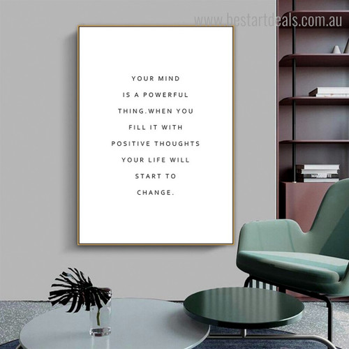 Your Mind Quote Contemporary Framed Painting Portrait Canvas Print for Room Wall Garnish