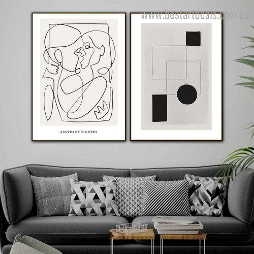 Couple Smooch Abstract Contemporary Framed Painting Portrait Canvas Print for Room Wall Garnish