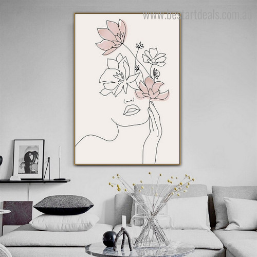 Floral Woman Abstract Contemporary Framed Artwork Picture Canvas Print for Room Wall Equipment