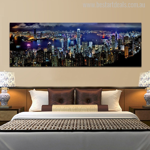 City Hong Kong Skyline Modern Wall Art Print for Bedroom Decor