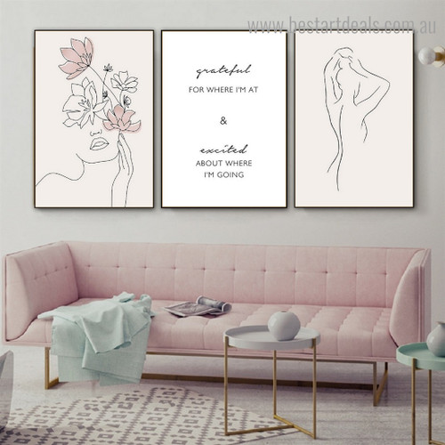 Grateful Abstract Contemporary Framed Artwork Portrait Canvas Print for Room Wall Tracery