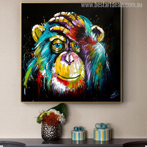 Baboon Watercolor Painting Canvas Print for Room Wall Decoration