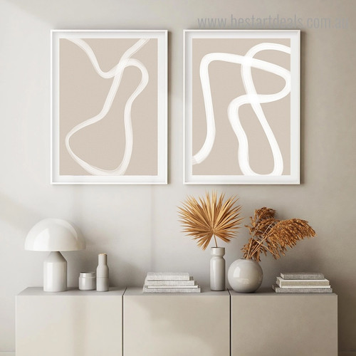 Sinuate Trails Abstract Contemporary Framed Artwork Portrait Canvas Print for Room Wall Tracery